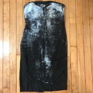 Helmut Lang strapless silk heathen dress size 2